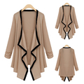 Women Autumn Spring Casual Contrast Trim Long Sleeve Cardigan Thin Coat Outwear