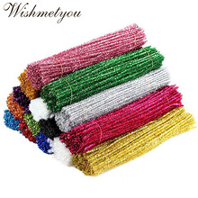 WISHMETYOU 50Pcs 30cm Glitter Chenille Stems Pipe Cleaners For Diy Kids Plush Educational Toys Handmade Art Crafts Supplies New