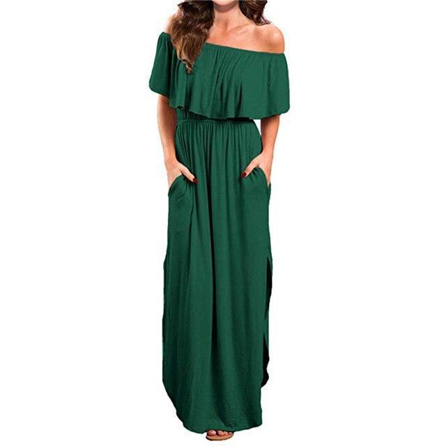 Платье женское, черное, розовое, зеленое, с вырезом лодочкой, длина до пола, 2019