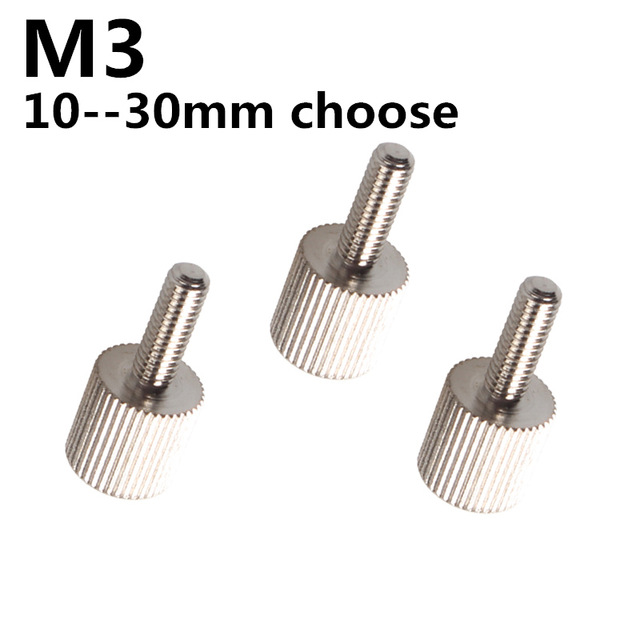 M3*(10-30mm) Metric Hand Screw Knurled Cylinder Head Thumb Screws Computer Case Screws Iron Nickel Plating#M3, 2pcs/lot 20pcs m3 m12 screw thread metric plugs taps tap wrench die wrench set