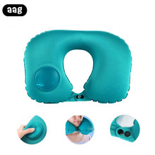AAG Portable U Shape Neck Travel Pillow Press Automatic Inflatable Airplane Car Sleep Air Support Folding Cushion