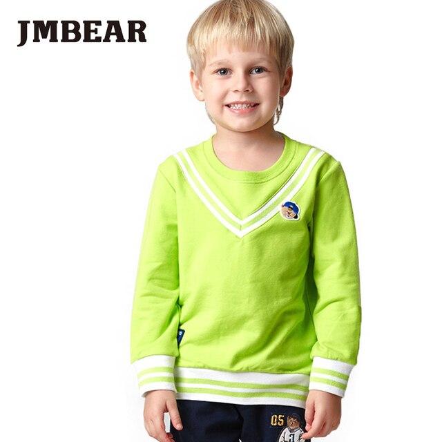 JMBEAR мальчиков толстовки 2-6 лет девочки хлопок тройник О-Образным Вырезом дети топы футболки письмо хорошая идея мультфильм одежда для детей 2016 новый