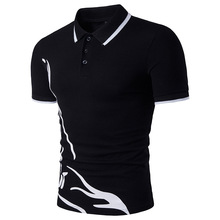 New summer time males's polo neck edge printing giant printed brief sleeve polo shirts males leisure polo shirts