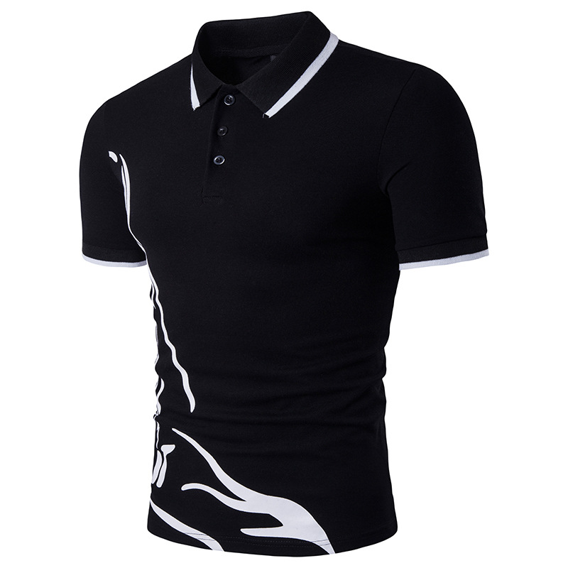 New summer men's   polo   neck edge printing large printed short sleeve   polo   shirts men leisure   polo   shirts