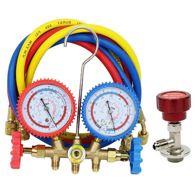 Ensemble de jauge de collecteur A/C R134a R12 R22 R404a pour la climatisation domestique/Automobile diverses combinaisons avec tuyau SAE 1/4''
