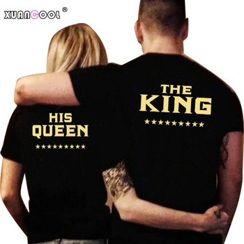 Couple T Shirts Lovers Casual Tops O Neck King And Queen Printed Letters Tee