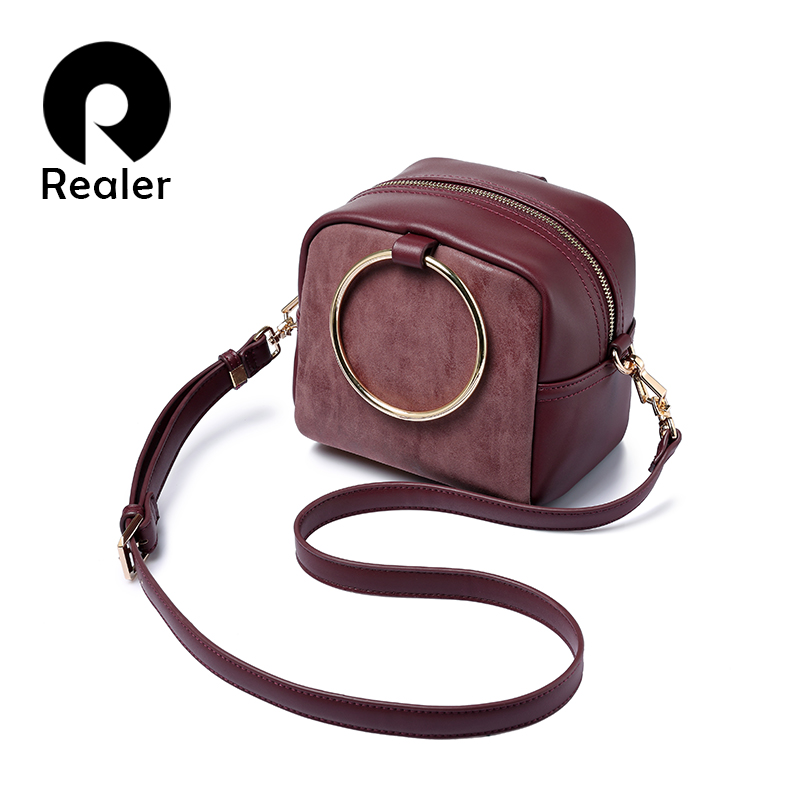 REALER brand spring new fashion women crossbody bags female shoulder bag metal ring handbag ladies small messenger bags