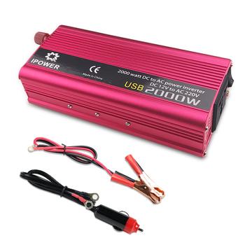 Podwójny USB 2000W wat DC 12V do AC 220V przenośny do samochodu przetwornica napięcia ładowarka konwerter Adapter DC 12 do AC 220 zmodyfikowana fala sinusoidalna tanie i dobre opinie Foval Dc ac falowników 220MM * 95MM * 55MM CZ-2000W2USB12V 50HZ Pojedyncze 1000kw 1kgs Modified Sine Wave aluminum
