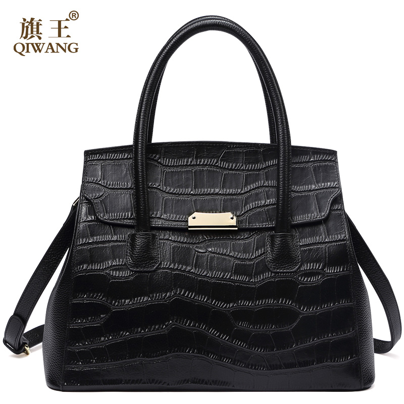QIWANG Real Leather Women Handbag Women Crocodile Bag Cow Tote Bag for Women Fashion leather Bag 2018 New Luxury Purse все цены