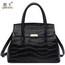 QIWANG Real Leather Women Handbag Women Crocodile Bag Cow Tote Bag for Women Fashion leather Bag 2018 New Luxury Purse qiwang women design bag brand designer luxury women fashion handbag bags fashion luxury ol tote bag for office women