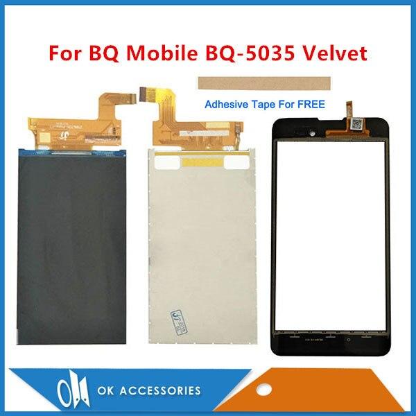 5.0 Inch For BQ Mobile BQ-5035 Velvet BQ 5035 BQS 5035 Seperate LCD Display + Touch Screen Digitizer Black Gold With Tape