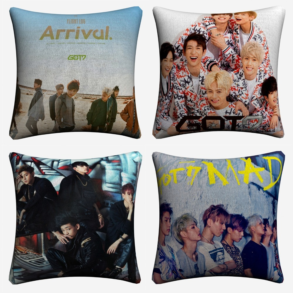 GOT7 Korea BTS Music Figures Decorative Cotton Linen Cushion Cover 45x45cm For Sofa Chair Pillowcase Home Decor Almofada
