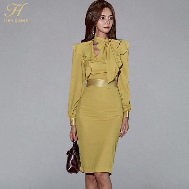 H Han Königin Laterne Hülse Rüschen Band Schärpen Kleid Frauen Herbst Koreanische Elegante Sexy Bleistift Kleider Bodycon Mantel Vestidos