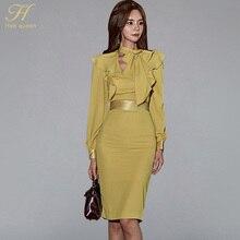 H هان الملكة فانوس كم الكشكشة الشريط وشاحات فستان المرأة الخريف الكورية أنيقة مثير قلم رصاص فساتين Bodycon غمد Vestidos