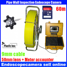 Bestwill 60M 50mm DVR drain pipe sewer pipeline inspection camera uderwater video inspection with meter counter 30 leds