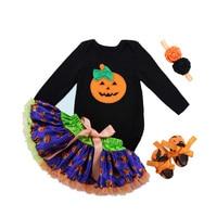Newborn Baby Halloween Clothing Girls Cute Pumpkin Outfits Infant Bebe Boutique Clothes Tutu Dress 4PCS/Set with Headband Romper