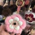 2017 new trinket pompom keychain bunny keychains on bag rabbit fur Keychain fur pom pom charms  for bags  anime