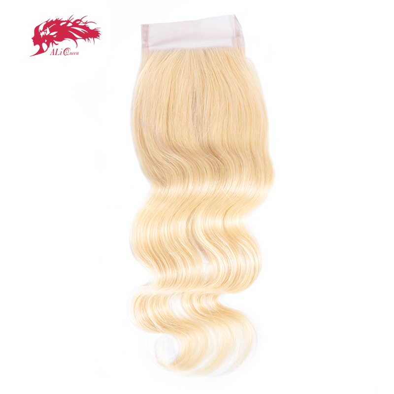Ali Queen Hair 613 Blonde Virgin Brazilian Hair Body Wave Lace Closure Free Part 4x4 Swiss Lace 8-18 Inches With Free Shipping