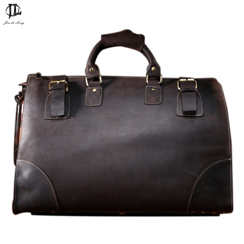 Vintage Crazy Horse Genuine Leather Travel bag men duffle bag luggage travel bag Leather Large Weekend Bag Overnight Tote Big 7077r crazy horse leather unisex dark brown huge luggage bag tote bag travel bag