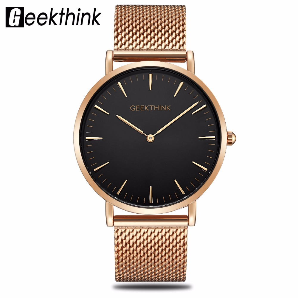 Top Luxury Brand Quartz Watch Men's Rose Gold Japan stainless steel Mesh Band Wrist Watch ultra thin clock male New Wooden face