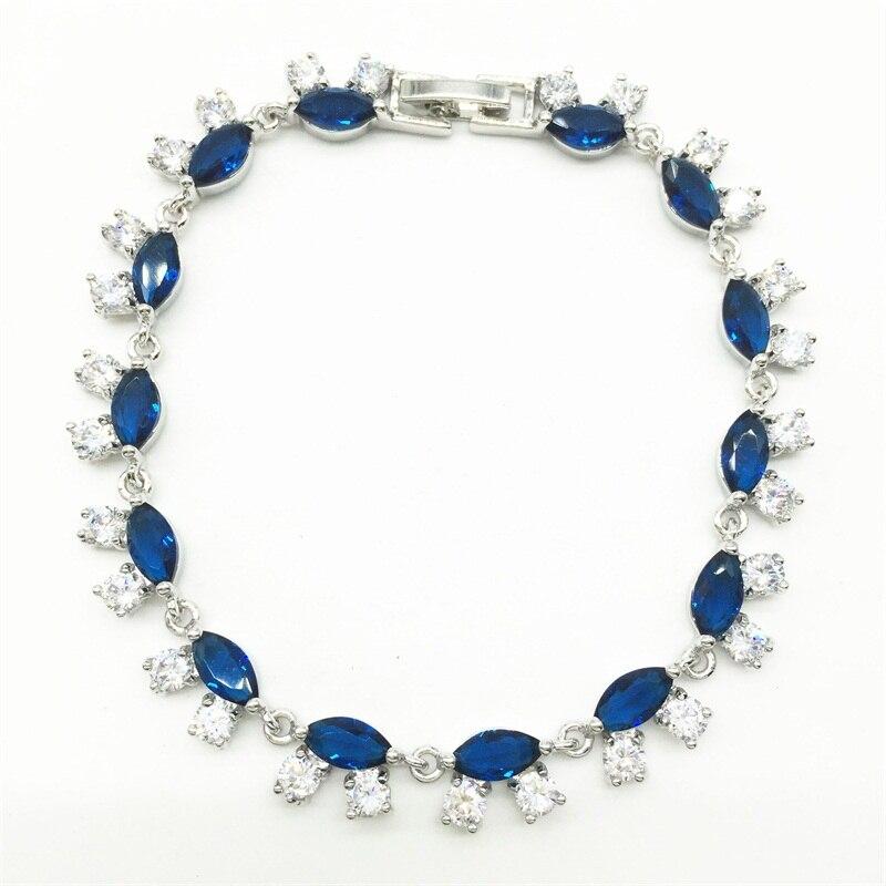 Caro JÓIAS Moda Estilo UE branco Banhado A ouro Azul Pedra de Cristal  Pulseiras   Bangles Jóias de Luxo Casamento Romântico Presente 951ba08e67202