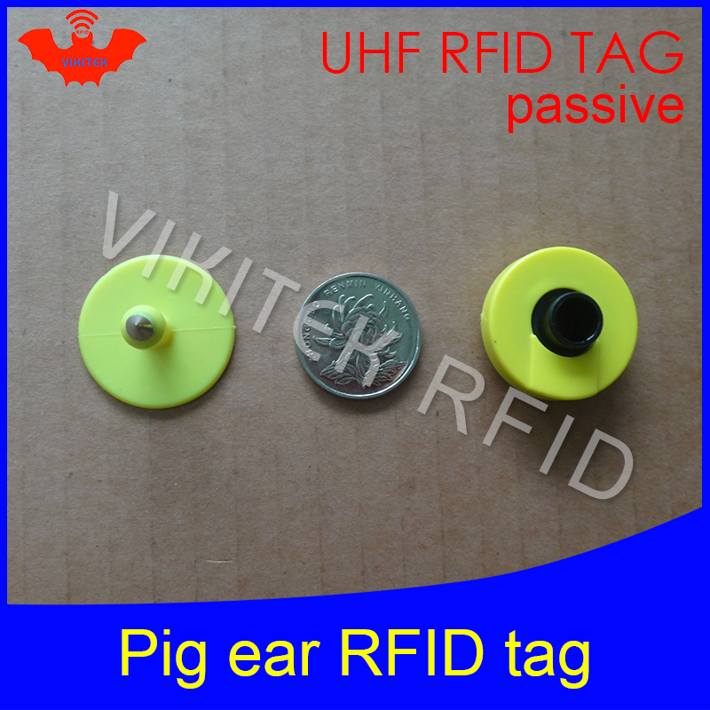 UHF rfid tag tracing electronic Animal ear tag EPC Gen2 ISO18000-6C 915m 868m 860MHz-960M alien higgs3 circular rfid pig ear tag iso 18000 6c epc gen 2 passive alien h3 uhf rfid tag for waste bin management 1000pcs lot