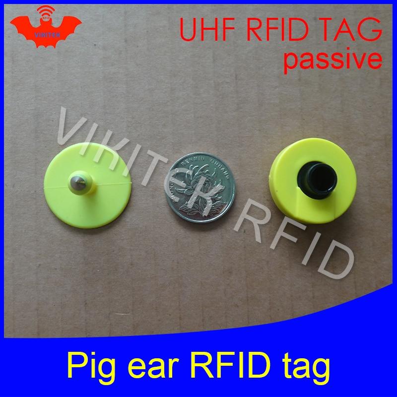 UHF rfid tag tracing electronic Animal ear tag EPC Gen2 ISO18000-6C 915m 868m 860MHz-960M alien higgs3 circular rfid pig ear tag iso11784 5 fdx b em4305 long range 134 2khz rfid animal ear tag for cow sheep management