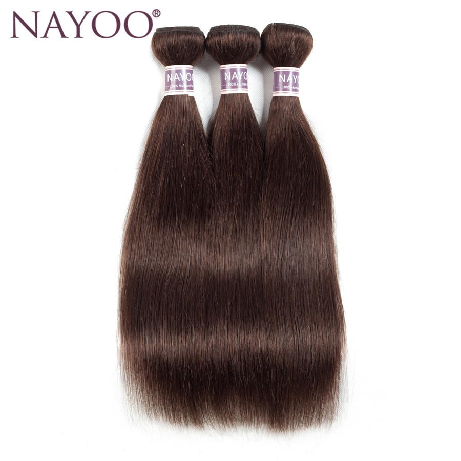 NAYOO Hair Brazilian Straight Color #2 Hair 100% Human Hair Weave Bundles 10-24inch Non Remy Dark Brown Hair Weaving 3 Pieces