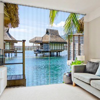 Blackout curtain House In The Sea 3D Printing Curtains With Bedding Room Living Room Drapes Cortinas