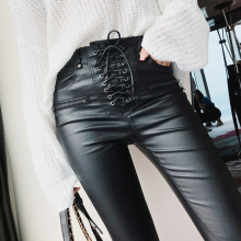 Brand New Women Fashion High PU Leather Trousers Lace-up Waist Skinny Pencil Pants Zipper Cuff Faux Winter