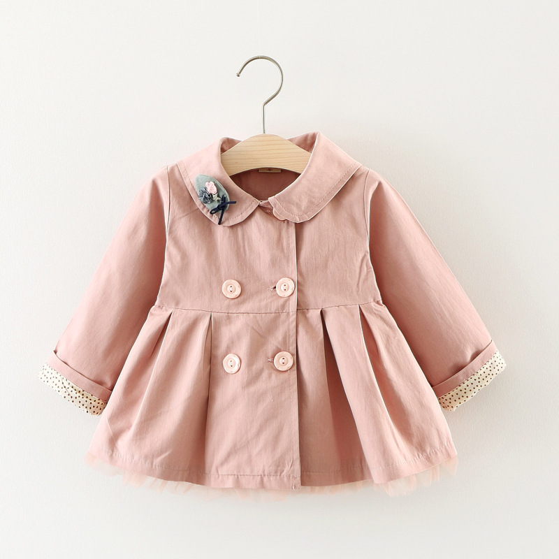 Scsech New Autumn Baby Girls Jacket Cotton Cat Embroidery Windbreaker Outwear Toddler Kids Bow Coat Children Clothing S8722 (5)