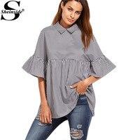 Sheinside Women Blouses And Tops European Style Korean Women Clothing Striped Ruffle Sleeve Babydoll Top Blouse