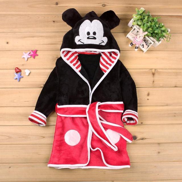 Cute Kids Pajamas Robe Cartoon Mickey Minnie Fleece Baby Bathrobes Boys Girls Sleepwear Spring Autumn Children Clothing New