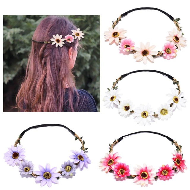 M MISM Sunflower Headband Crown Woman Bridal Hair Flowers Girls Headband  Artificial Sunflower Wreath Hair Accessories Garland efa98948638