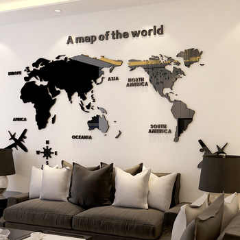 World Map DIY 3D Acrylic Wall Stickers for Living Room Educational World Map Wall Decals Mural for Children Bedroom Dorm Decor - DISCOUNT ITEM  55 OFF Home & Garden