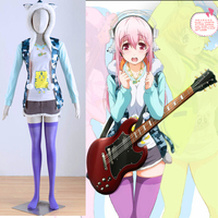 Hot Anime Super Sonico Cosplay Costume Halloween Costumes for women no sleeve coat+t shirt+skirt+necklace+stockings