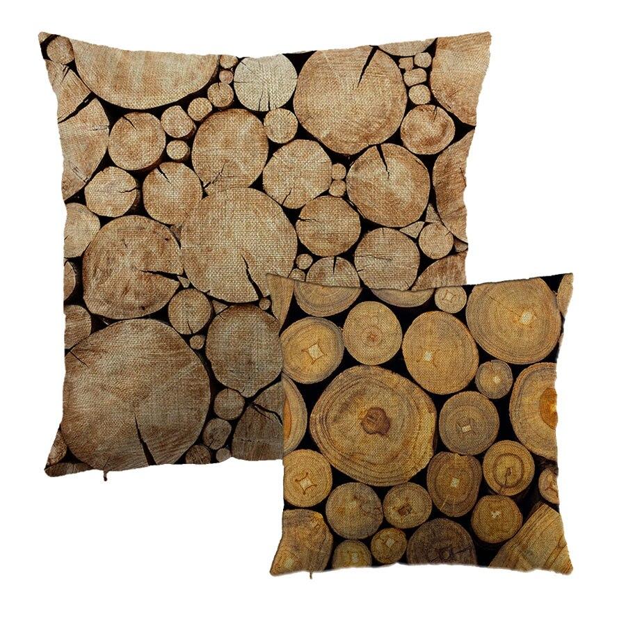 Arbre croissance anneau imprimé coton housse de coussin en bois naturel Design Liene taie d'oreiller décoration cadeau taille housse de coussin