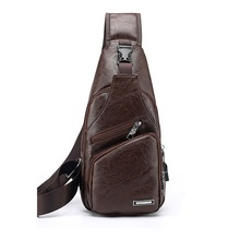 Men's Leather Packs With Charging Shoulder Bags Waterproof B
