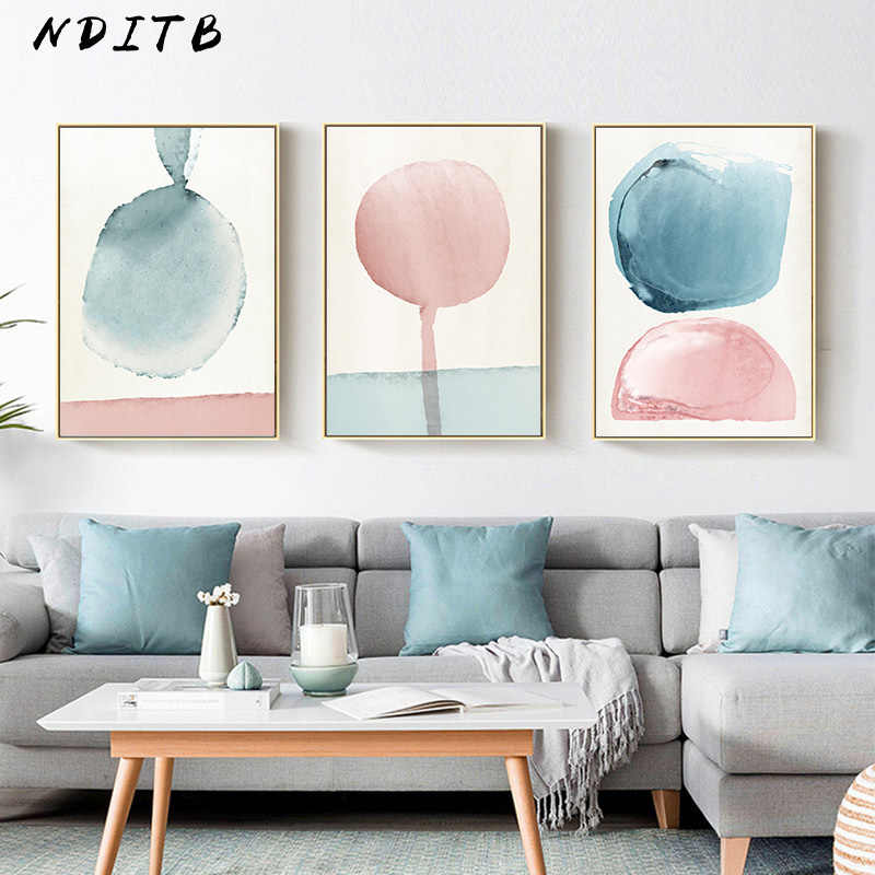 Watercolor Geometric Art Canvas Poster Abstract Painting Minimalist Print Nordic Decoration Wall Picture for Living Room Decor