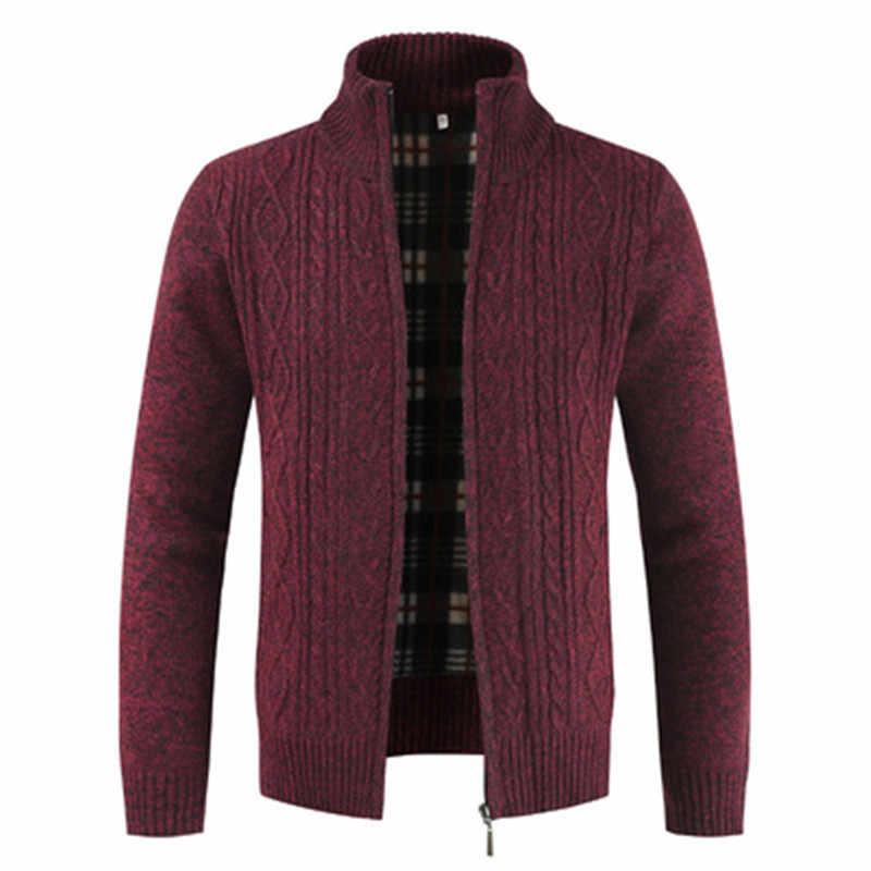 Кардиган мужской 2018 зимний бренд толстый теплый кашемировый шерстяной кардиган на молнии Свитера Мужской Повседневный трикотаж свитер Мужская одежда