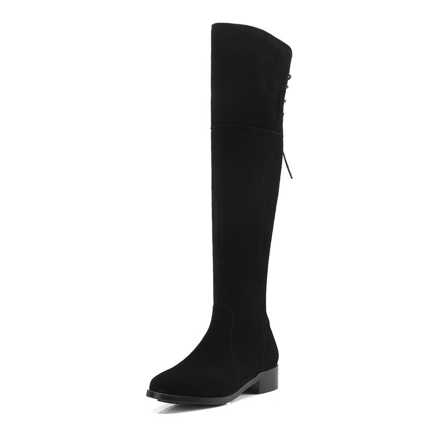 Match Carré 34 forme Grande Qutaa En Vache Tous Chaussures Daim Bottes Les 40 2019 Noir Femmes Hiver Haute Taille Genou Talon Plate gw08Sq