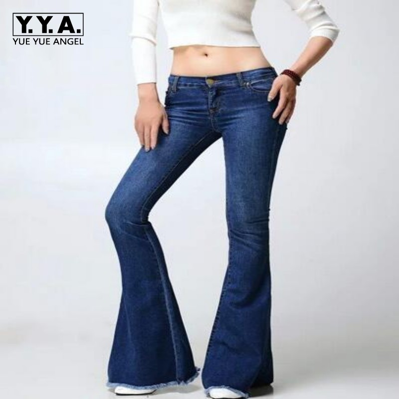 Spring New Fashion Girls Retro Hipped Women Wide Leg Long Flared Bell Bottom Jeans Denim Trousers Pants Size S M L free shipping 2017 new fashion long spring and summer bell bottom jeans boot cut women slim long trousers lacing up flare pants