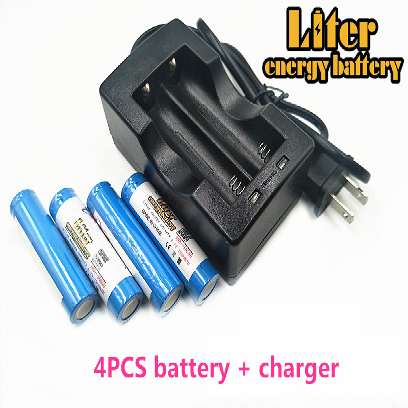 Liter energy <font><b>battery</b></font> 3.7V 1800mAh <font><b>16650</b></font> Rechargeable Li-ion <font><b>battery</b></font> + Travel Charger Can be used to LED Flashlight image