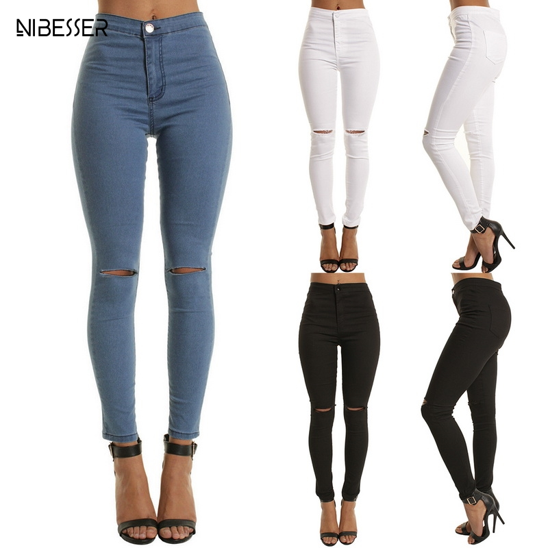 NIBESSER Casual Skinny   Jeans   For Women Hole Vintage Girls Slim Ripped Denim Pencil Pants High Elasticity Black Blue High Waist