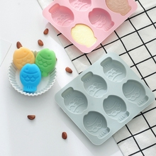 6 Grid Silicone Fish Cake Mold Ice Grid Pudding Chocolate Candy Biscuit Sugar DIY Baking Tool Cake Baking Mold Cake Decor cute pig silicone cake mold diy rice cake mold steamed cake mold handmade chocolate candy biscuit sugar soap mold dessert tool