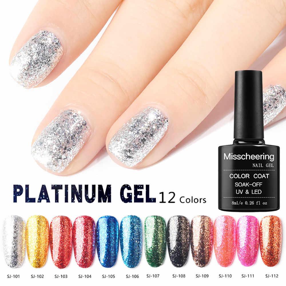 1pc Gel Nail Manicure 8ml gray odorless not easy to fall off harmless Diamond Glitter Nail Polish Sequins Gel Hybrid Nail Art