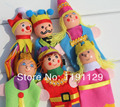 Finger puppet doll hand puppet story tell  king queen family wooden cloth toys for children learning and educational toys