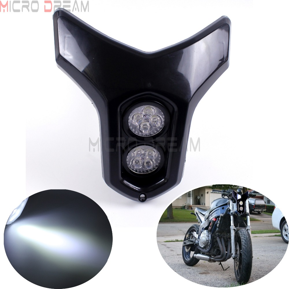 12v Streetfighter Dirt Bike Dual MR16  4w * 2 LED Headlight Universal For Kawasaki Yamaha Suzuki ATV Naked Motorcycle Lamps