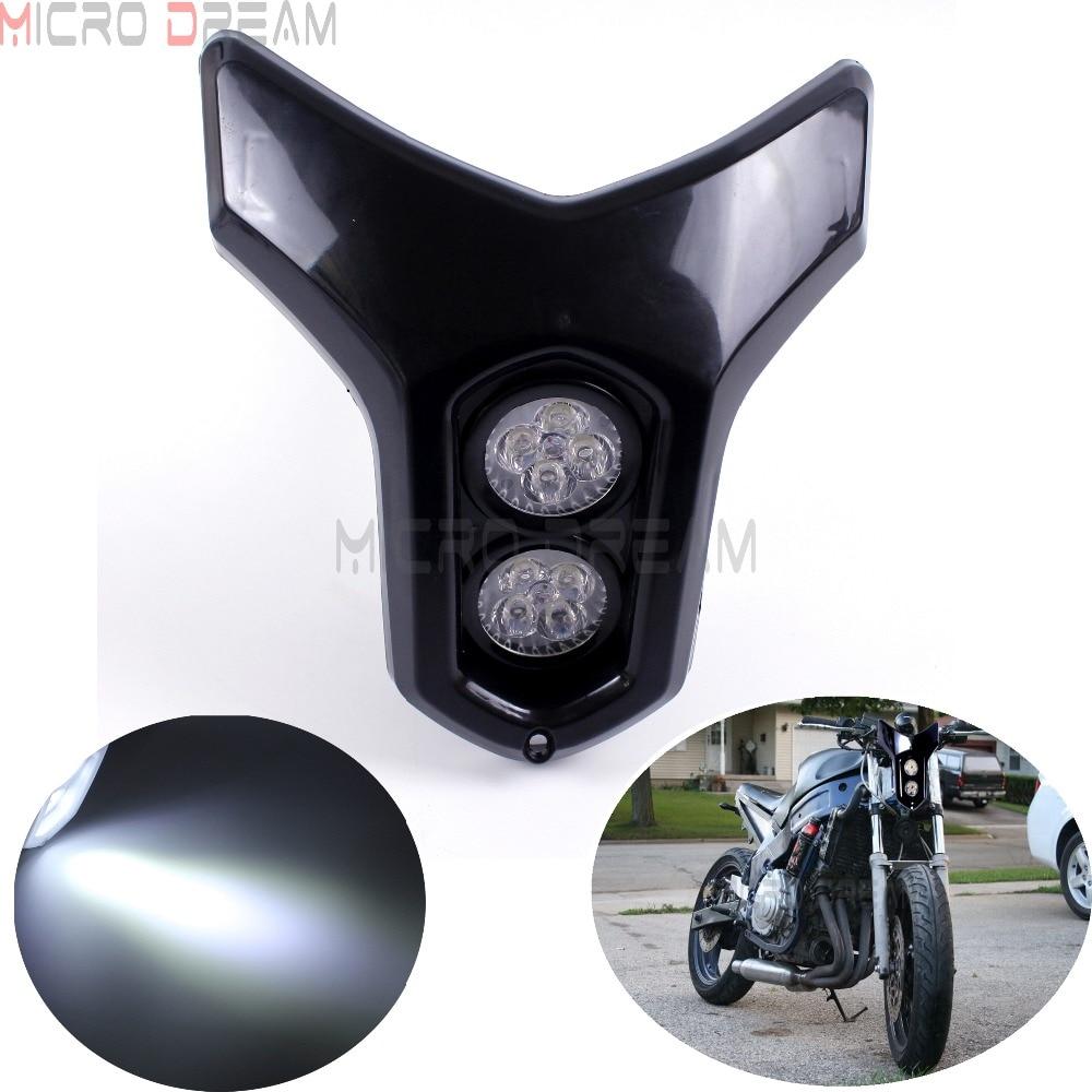 12v Streetfighter Dirt Bike Dual MR16  4w * 2 LED Headlight Universal For Kawasaki Yamaha Suzuki ATV Naked Motorcycle Lamps