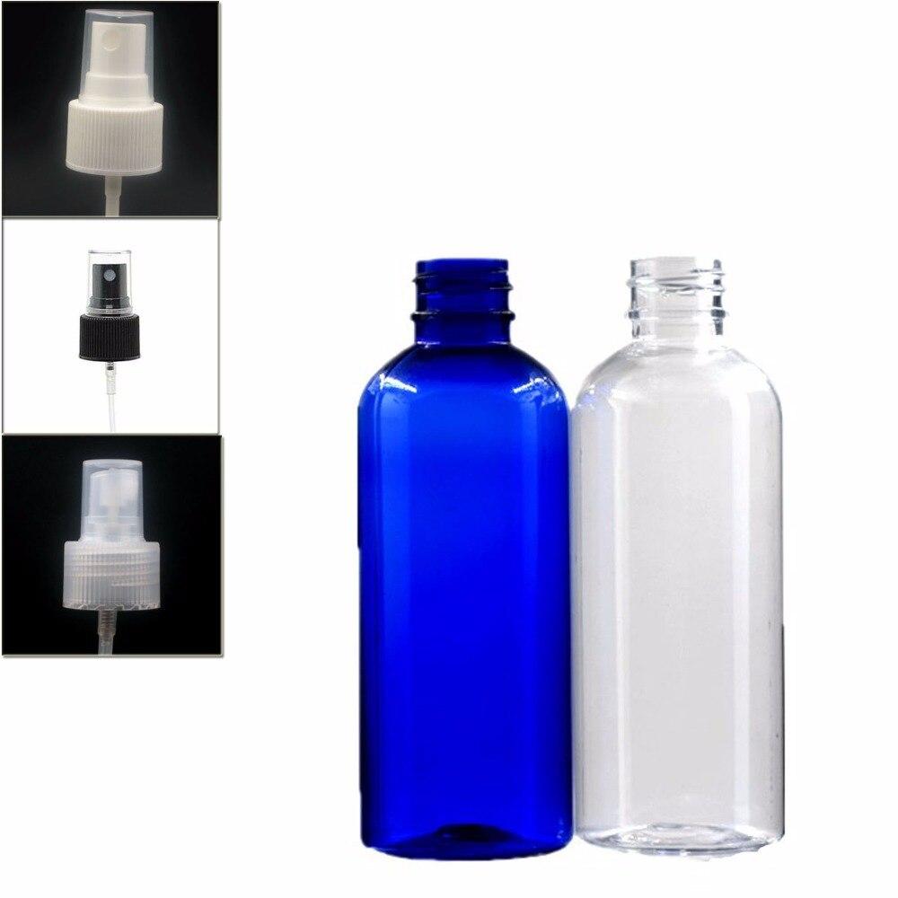 100ml Empty  Plastic Bottle , Clear/blue Pet  Bottle With Transparent/white/black Fine Mist,atomizer Sprayer X 5
